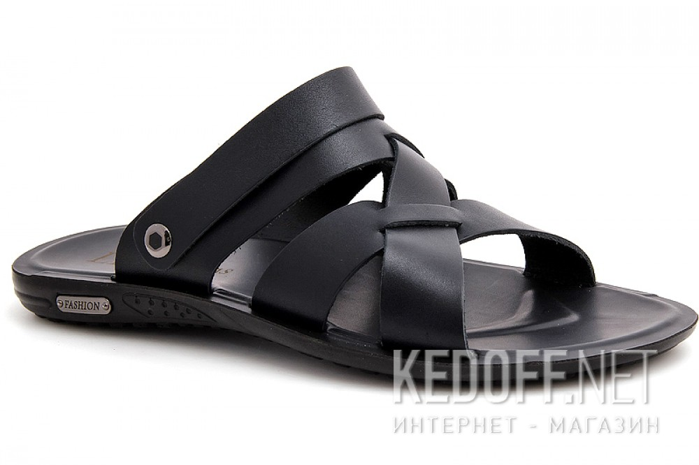 Mens sandals Las Espadrillas T015-27 Black leather