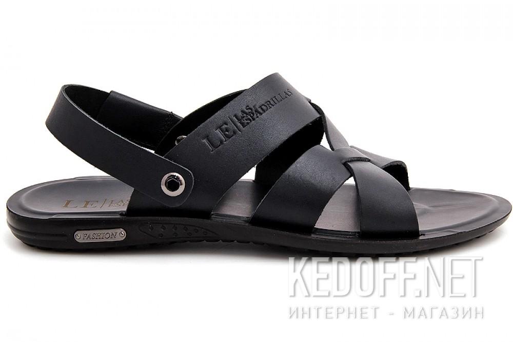 Мужские сандалии Las Espadrillas T015-27 Черная кожа