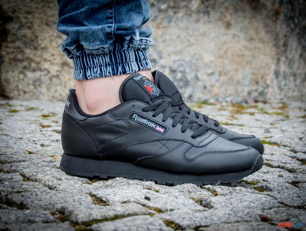 Мужские кроссовки Reebok Classic Leather 2267   (чёрный) все размеры