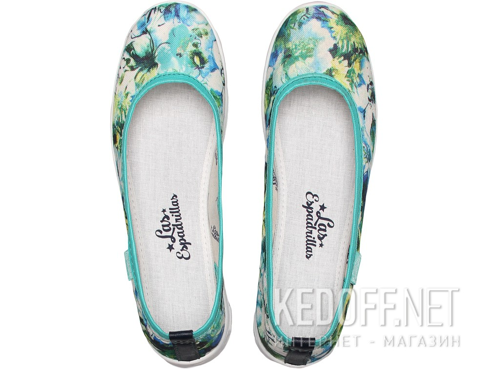 Спортивні балетки Las Espadrillas Flowers Green Motion Foam 22635-2840
