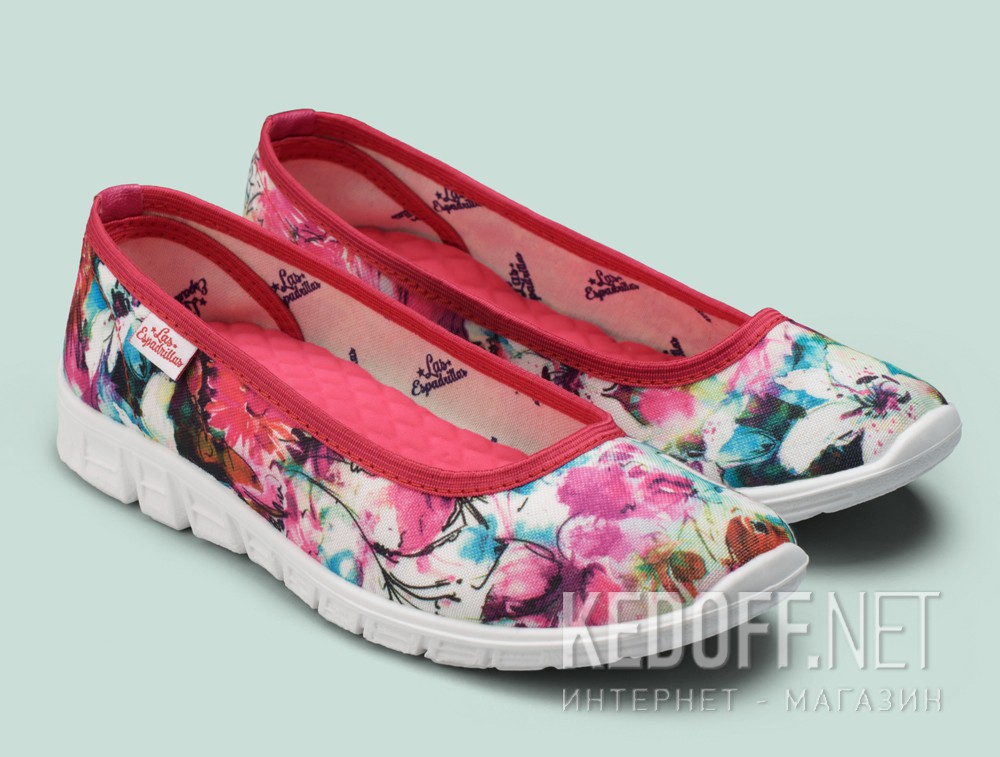 Sporty ballerinas Las Espadrillas Pink Flowers Motion Foam 22635-4628