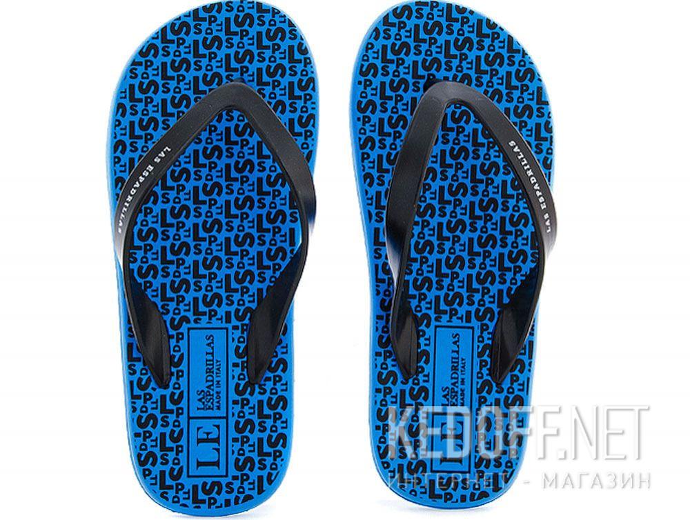 Купить Вьетнамки Las Espadrillas F6574-4227 Made in Italy унисекс   (голубой/чёрный)