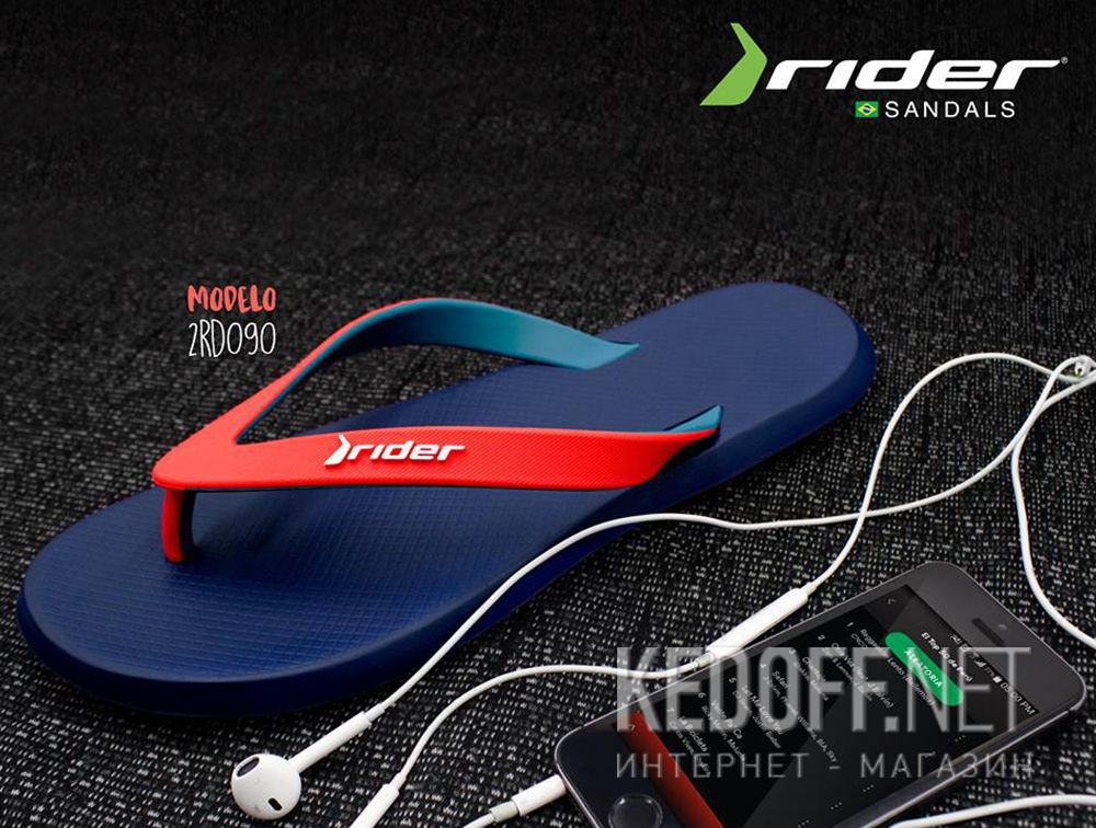 Rider Mens R1 Plastic Slip on Flip Flop Black//Black