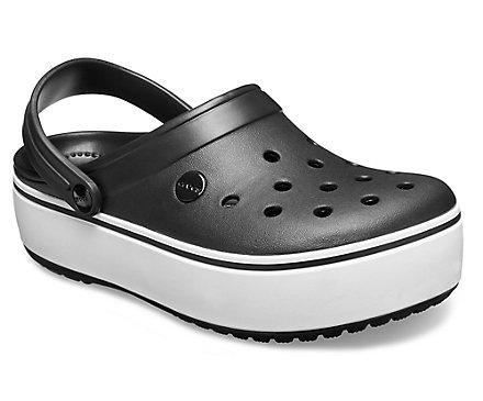 Купить Женские сандалии Crocs Crocband Platform Clog BlackWhite 205434-066, Чёрный, Белый